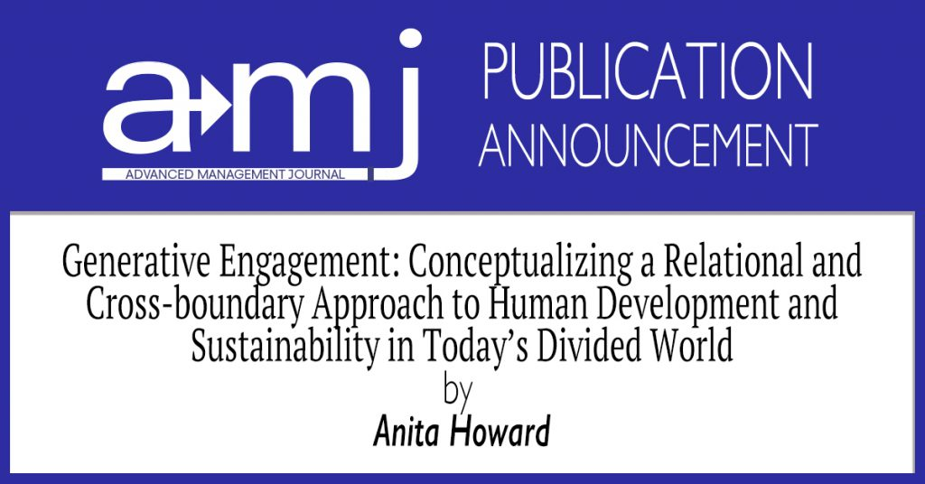 Generative Engagement: Conceptualizing A Relational and Cross-Boundary  Approach to Human Development and Sustainability in Today's Divided World