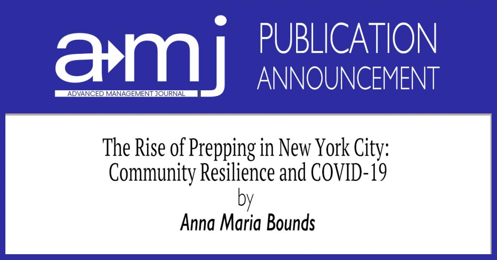 The Rise of Prepping in New York City: Community Resilience and COVID-19